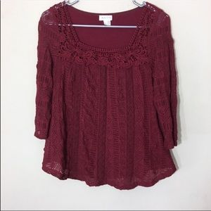 Anthropologie Meadow Rue Lace Melange Top Small